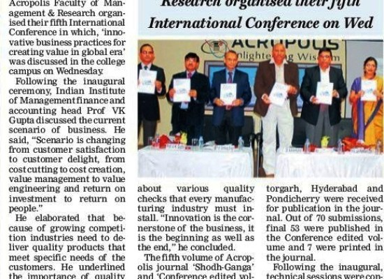 Free Press_Fifth International Conference on Innovative Business Practices for creating value in global era by MBA Dept.